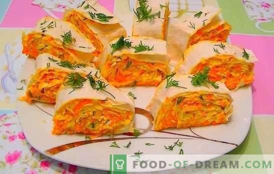Karotten mit geschmolzenem Käse - Orangenstimmung! Rezepte für schnelle und helle Salate, Karotten-Snacks mit Schmelzkäse