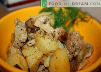 Kartoffel mit Fleisch und Pilzen - die besten Rezepte. Wie man richtig und lecker Kartoffeln mit Fleisch und Pilzen kocht.