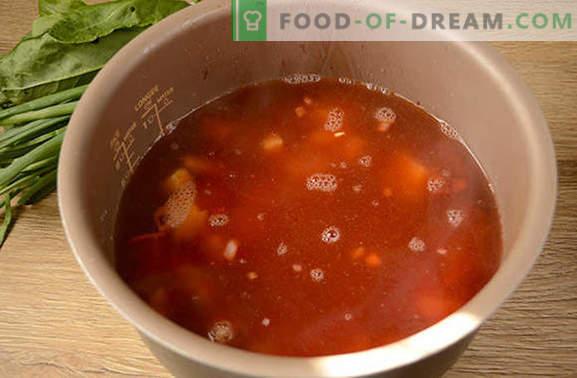 Grüner Borschtsch mit Tomatenmark und Rüben: ein Autorrezept für Schritt für Schritt mit Fotos. Wie man köstliche Suppe aus Sauerampfer und Rüben mit Tomatenmark kocht - Geheimnisse teilen