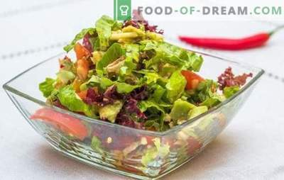 Schnelle Salate: leckere Optionen. Reife, raffinierte und schnelle Salate - in Eile für Urlaub und Alltag