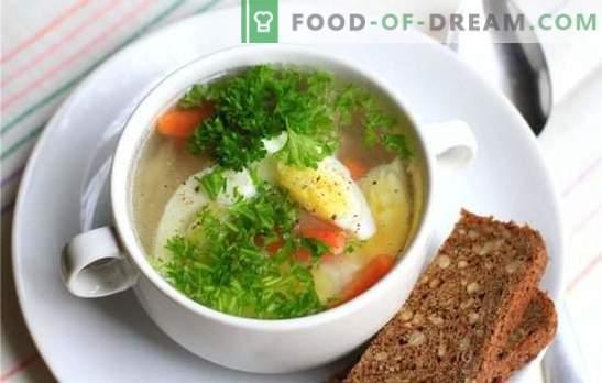 Hühnersuppe mit Ei - ein Gericht für Stimmung und Gesundheit! Verschiedene Rezepte für Hühnersuppen mit Eiern und Gemüse, Pilzen, Getreide