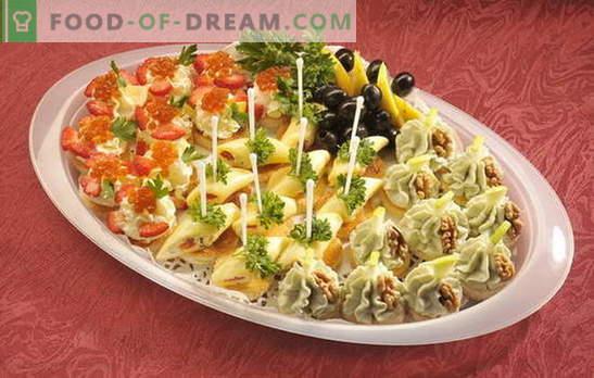 Geburtstags-Canapé - der Tisch wird hell! Verschiedene Canapes-Sandwiches für Geburtstage und andere Feiertage