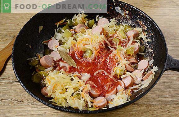 Soljanka aus Sauerkraut mit Nippeln: eine schnelle und gesunde Mahlzeit. Schritt für Schritt Fotorezept des Autors für Sauerkrautsuppen mit Wurst und Gurken