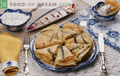 Pfannkuchen mit Zwiebeln und Eiern - Sie müssen viel kochen! Rezepte mit verschiedenen Pfannkuchen mit Frühlingszwiebeln und Ei, mit Zucker und mit Füllungen