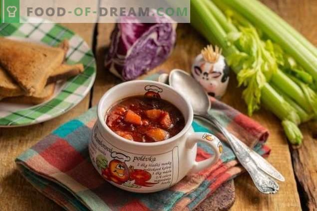 Gesunde vegetarische Rotkohlsuppe