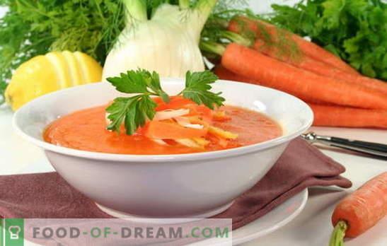 Karottensuppe - ein sonniges Gericht auf Ihrem Tisch. Wie man eine köstliche Karottensuppe zubereitet: Rezepte mit süßen oder salzigen Gerichten