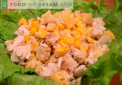 Salat mit Crackern und Mais - die besten Rezepte. Wie man richtig und lecker einen Salat mit Crackern und Mais zubereitet.