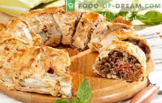 Fleischpasteten aus Pita mit Hackfleisch - einfach! Rezepte Pita-Törtchen mit Hackfleisch und Käse, Kartoffeln, Champignons, Tomaten, Zucchini