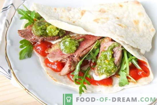 Pita mit Füllungen - ein Rezept mit Fotos. Fahren Sie auf der Straße Shawarma vorbei! Schrittweise Beschreibung der Zubereitung von Pitabrot mit Füllungen (Foto)