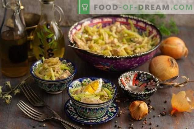 Würziger Usbekistan-Salat mit Fleisch und grünem Rettich