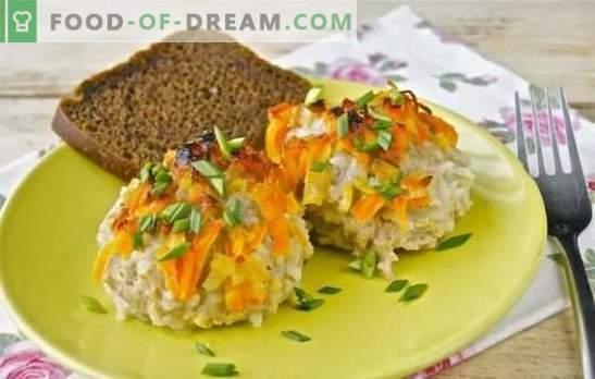Igel vom Hackfleisch mit Reis in einer Pfanne - einfach und originell. Igel-Rezepte aus Hackfleisch mit Reis in einer Pfanne in einer cremigen Fleisch-Gemüsesoße