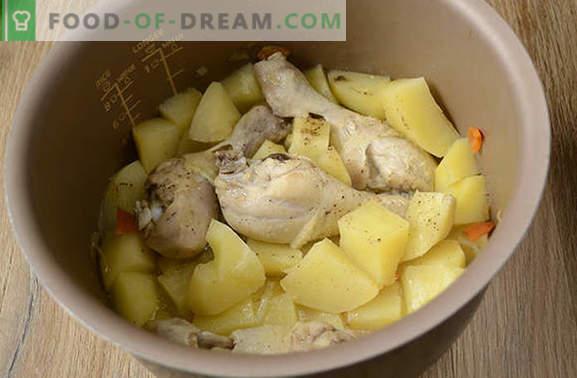 Wie man Kartoffeln mit Hühnchen in einem langsamen Kocher löscht: ein tolles Abendessen in einer halben Stunde! Schritt für Schritt Fotorezept für Hühnereintopf mit Kartoffeln in einem Langsamkocher