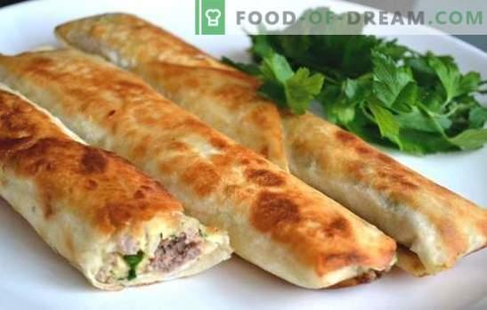 Lavash Pies mit Hackfleisch - ein leckerer Snack in wenigen Minuten. Schnell und lecker kochen Lavash Pies mit Hackfleisch