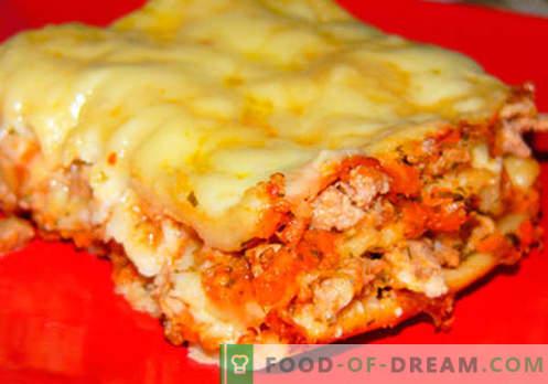 Lasagne zu Hause - die richtigen Rezepte. Wie man schnell und lecker Lasagne zu Hause kocht.