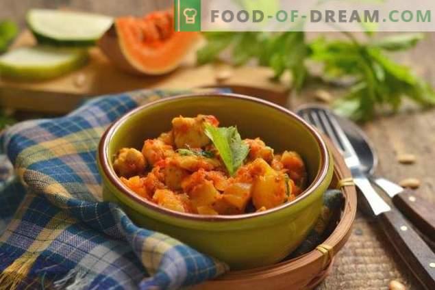Zucchini, Kürbis und Hähnchen - ein Herbsteintopf für jeden Tag