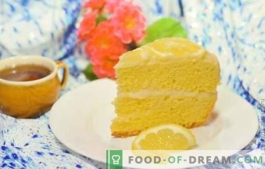 Zitronenkuchen: Keks, Blätterteig, Auflauf, Sand, Gelee, Baiser, Eiscremekuchen. Urheberrechtsrezepte für Zitronenkuchen und Glasur