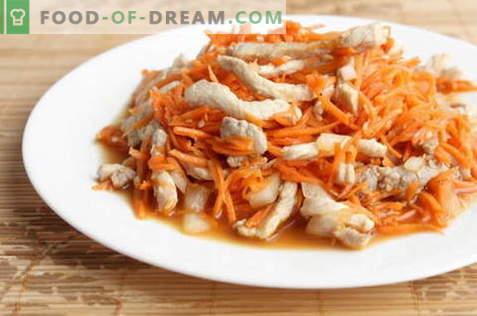 Koreanischer Salat mit Hühnchen - die besten Rezepte. Wie man richtig und lecker einen Salat mit Huhn und koreanischer Karotte zubereitet.