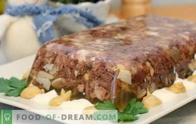 Schweinefleischgelee ist ein Klassiker. Geschmorte Schweinshaxe: mit Gemüse, Hähnchen, Truthahn und Rindfleisch
