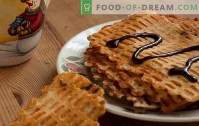 Dünne Waffeln - knusprige Snacks! Rezepte verschiedener dünner Waffeln auf Butter, Milch, Sauerrahm, Kefir, mit Honig und magerer Version