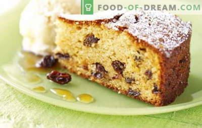 Pie mit Rosinen - da ist definitiv eine Rosine drin! Rezepte für hausgemachte Kuchen mit Rosinen und Äpfeln, Nüssen, getrockneten Aprikosen, Reis, Hüttenkäse