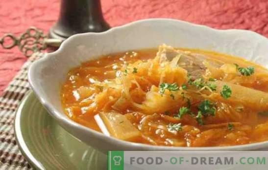 Suppe aus Sauerkraut in einem langsamen Kocher mit Rindfleisch, Schweinefleisch und Truthahn. Wie man Suppe aus Sauerkraut in einem langsamen Kocher zubereitet