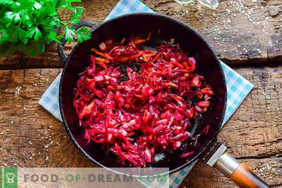 Kochen von leckerem ukrainischem Borschtsch nach dem klassischen Rezept