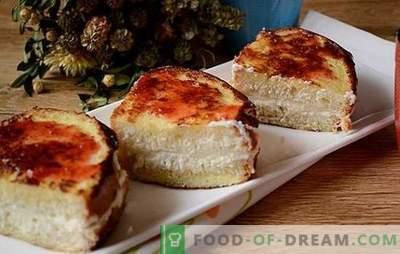 Croutons mit Hüttenkäse - eine kreative Annäherung an das Frühstück! Eine schnelle Version eines Hüttenkäsekrapfens oder eines Käsekuchens: gebratene Croutons mit Hüttenkäse