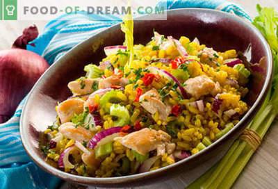 Reissalat - fünf beste Rezepte. Wie man richtig und lecker Kochreissalat kocht.