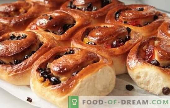 Süße hausgemachte Brötchen - herzhaftes Gebäck! Rezepte für hausgemachte süße Brötchen mit Zucker, Mohn, Rosinen, Sesam, Schale