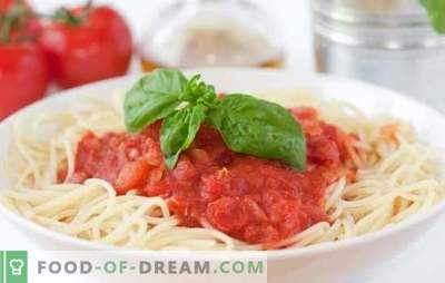 Tomatensauce für Spaghetti - der beste Weg, ein einfaches Gericht zu variieren. Eine Auswahl der besten Rezepte für Tomatensauce für Spaghetti
