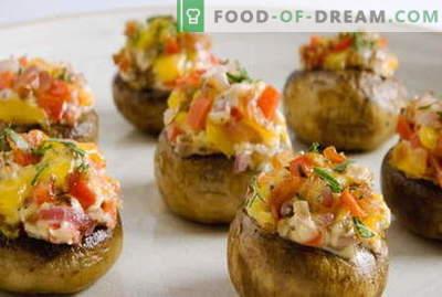 Gefüllte Champignons - die besten Rezepte. Wie man gefüllte Pilze richtig kocht und kocht.