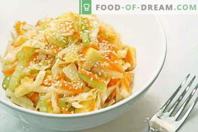 Kohlsalate sind die besten Rezepte. Salate aus frischem Blumenkohl, Meer und Chinakohl kochen.