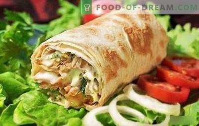 Shawarma mit Hühnchen im Pitabrot: hausgemachtes Fast Food Schritt für Schritt kochen! Auswahl der besten Hühnchen-Shawarma-Rezepte (Schritt für Schritt und im Detail)