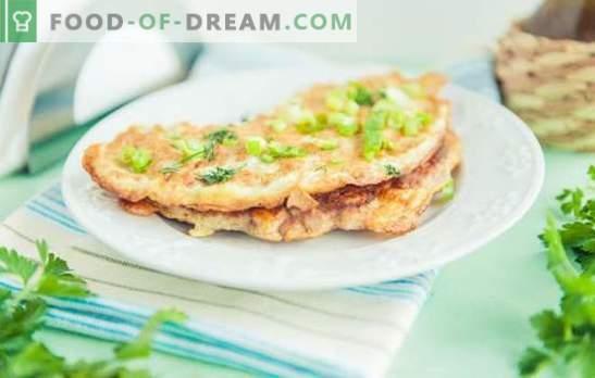 Chicken Breeze - ein Restaurantgericht im Hauptmenü. Merkmale der Zubereitung von Füllungen und Omeletts für Hühnchenbrilli