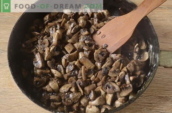 Gebratene Champignons mit Zwiebeln: Die richtige Kochtechnologie. Schritt für Schritt Foto-Rezept zum Kochen von Champignons mit Zwiebeln