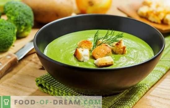 Brokkoli-Püreesuppe - für Gesundheit, Geist und schöne Figur. Rezepte für Broccoli-Cremesuppen mit Sahne, Käse, Hühnchen, Champignons