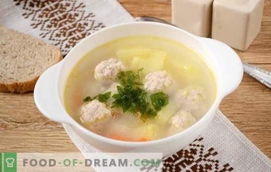 Suppe mit gehackten Schweinefleisch-Frikadellen: Fotorezept! Leichte und nahrhafte Suppe für die ganze Familie in 45 Minuten