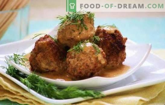 Igel aus Hackfleisch mit Reis und Bratensoße: Kochgeheimnisse. Kochen von Igeln aus Hackfleisch mit Reis in Tomaten, Sauerrahm, Gemüsesoße