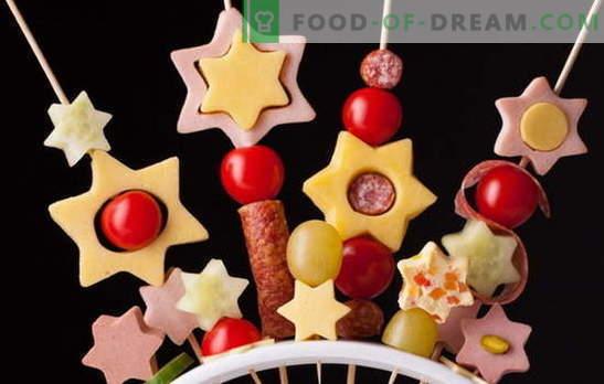 Canape für Kinder - lustiges Feuerwerk auf dem Tisch! Rezepte für Miniatur-Canapes-Sandwiches für Kinder: süß und salzig