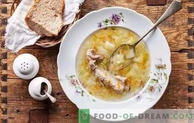 Frühlingsmenu - Sauerkrautauflauf. Fisch, Fleisch, Pilze und magere Suppe mit Sauerkraut