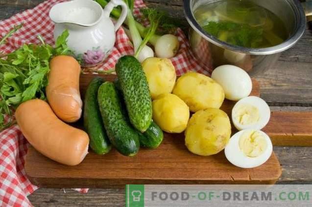 Okroshka mit Wurst in Gemüsebouillon