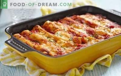 Cannelloni mit Hackfleisch - Italien auf einem Teller! Cannelloni mit Hackfleisch und Käse, Champignons, Tomaten und Spinatsauce