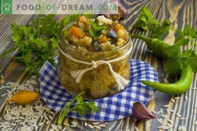 Gemüsesalat mit Reis für den Winter