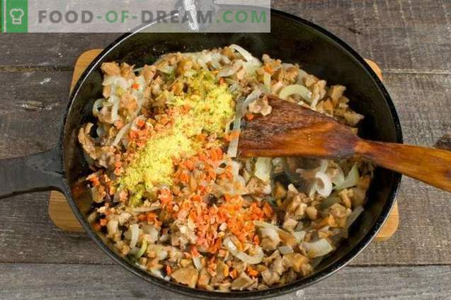 Magere hausgemachte Nudeln mit Pilzen