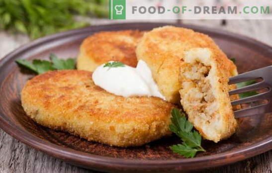 Cartofi zrazi cu carne - un fel de mâncare ideal pentru gustări. Rețete de cartofi zraz cu carne: în cuptor și în tigaie