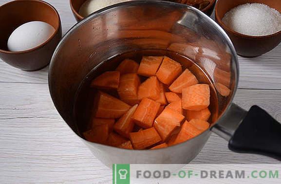 Karottenauflauf: hell und lecker, fast wie ein Kuchen! Autor Schritt für Schritt Foto-Rezept nützliche Karottenauflauf