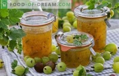 Bereiten Sie Stachelbeeren vor: Konfitüre für den Winter mit Orangen, Nüssen, Himbeeren, Johannisbeeren, Bananen. Die besten Rezepte für Stachelbeermarmelade für den Winter