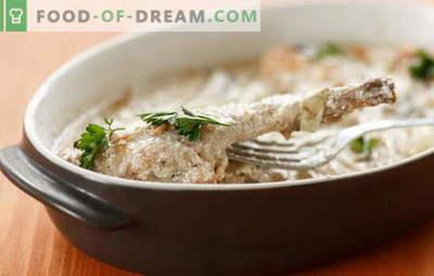 Kaninchen in Sauerrahm im Ofen - lecker auf jeden Fall. Rezepte Kaninchen in saurer Sahne im Ofen mit Gemüse, Pilzen, Käse