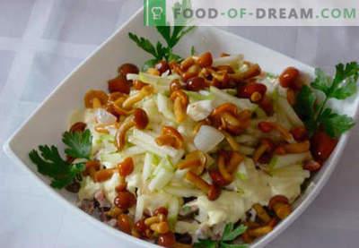 Salat mit eingelegten Pilzen - fünf beste Rezepte. Wie man richtig und lecker einen Salat mit eingelegten Pilzen zubereitet.