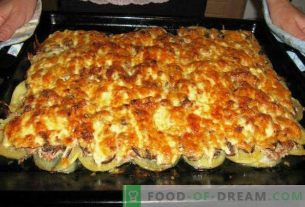 Schweinefleisch in französischem Ofen in Folie mit Pilzen, Kartoffeln